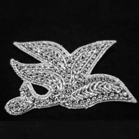 Bridal Applique - Silver Applique - Wedding Applique - Crystals Applique - Embroidered Applique - Hand Embroidered - Silver Zardosi Threads