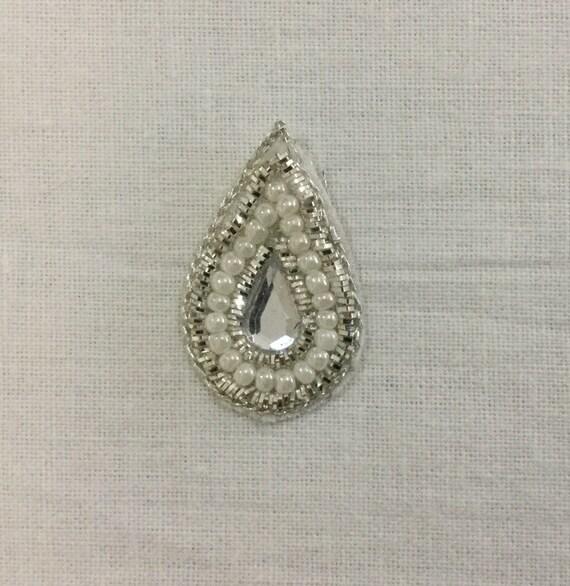 Rhinestone Applique - Sliver Applique - Pearl Bead - Bridal Applique - Embroidered Applique - Wedding Applique - Crystal Applique