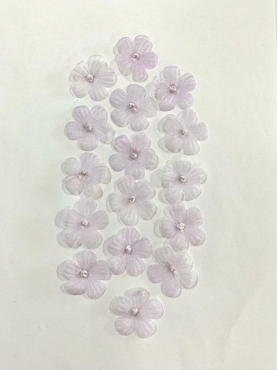 Soft Purple organza Flowers, sheer Glittering soft purple Flowers, purple single layer flowers