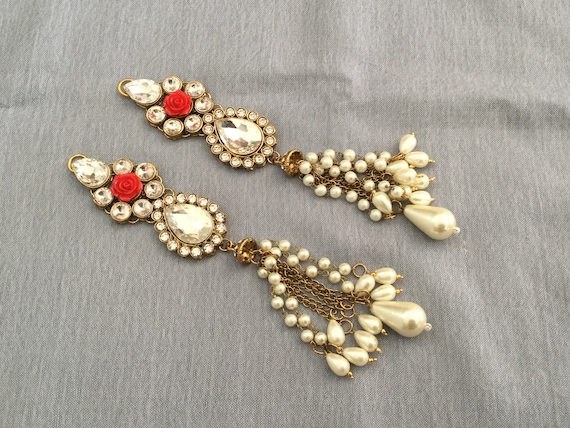 Ornamental Golden Tassel with Rhinestones, Crystals, Pearls & a Red Synthetic Rose - Tassel with Red Rose