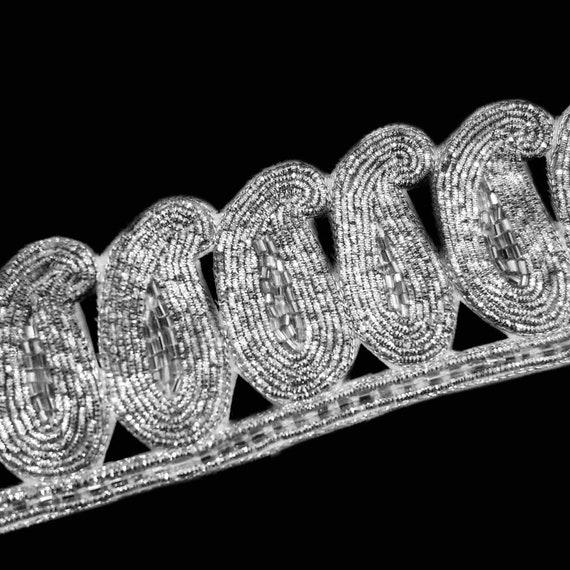 Silver Trim - Wide Lace Trim - Beaded Trim - Silver Metallic Zardosi Thread and Silver Tube Beads