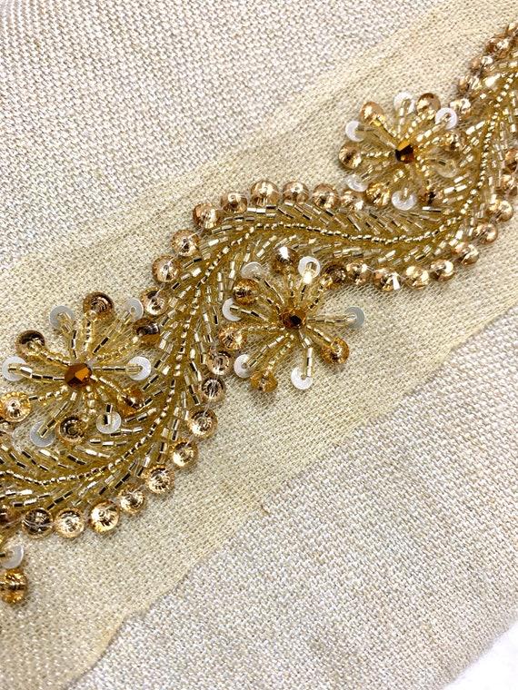 Golden beaded trim,Hand beaded trim,Hand embroidered trim, wedding trim, golden border trim, Home decoration trim.