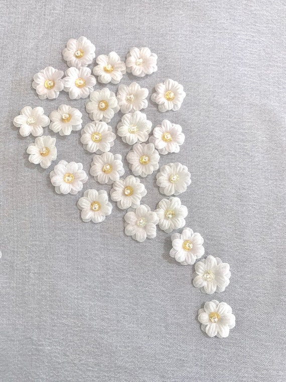 Cream colour organza Flowers,sheer Glittering Ivory colour Flower, Cream layered flowers