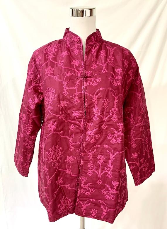 Hot pink silk jacket,Pink Reversible jacket, hand block painted coat, woman designer coat, spring party jacket.