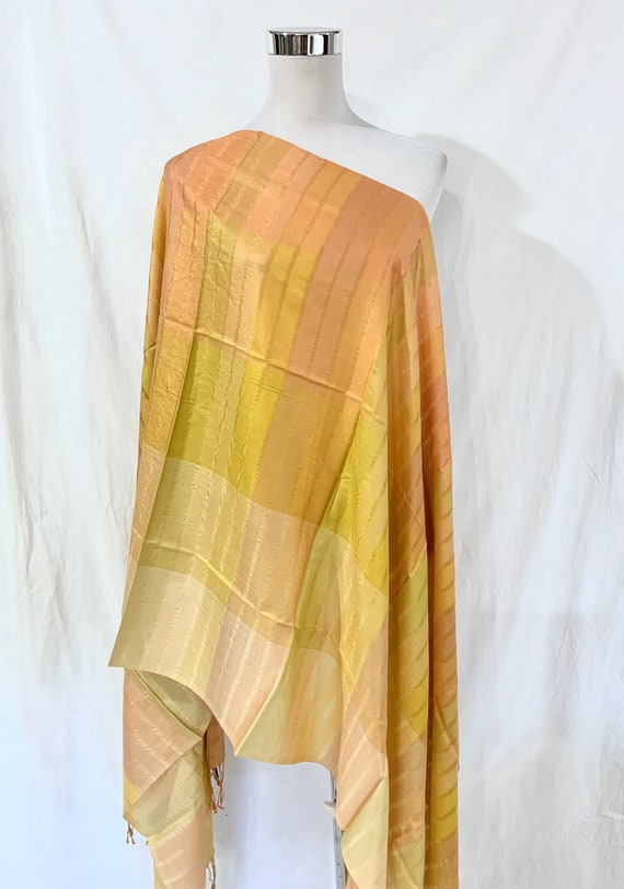 Golden silk shawl, orange large shawl, golden yellow silk shawl, women fashion shawl, all season silk shawl