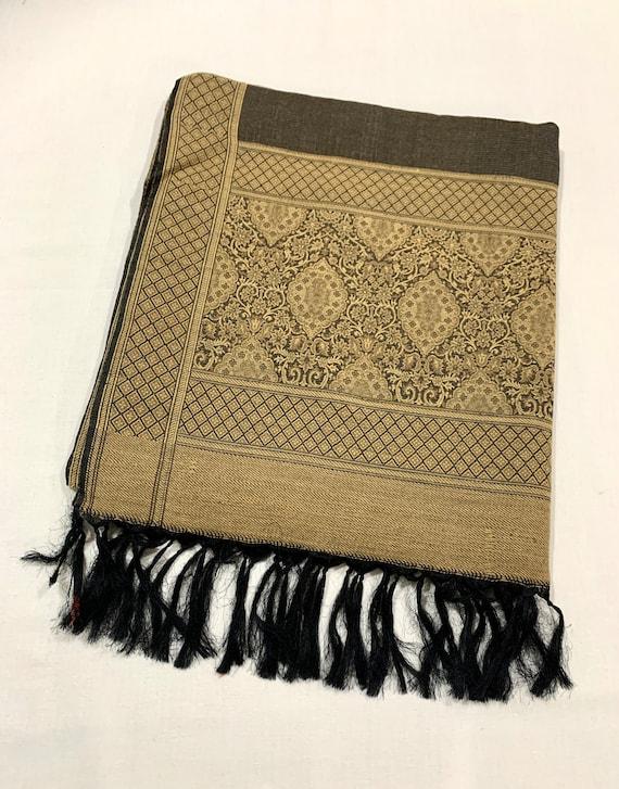 Golden silk wool shawl, Brown n golden shawl, winter and spring shawl,  formal and casual shawl, women gifting shawl, Jacquard shawl