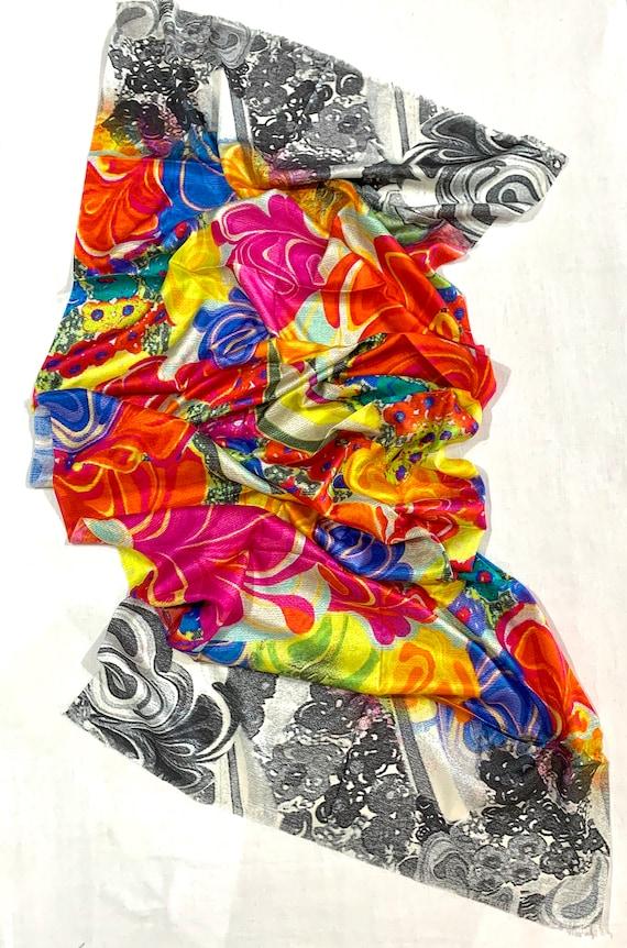 Multicolour silk shawl, digital printed silk shawl, bright coloured printed shawl, formal wear wrap, feel good pure silk shawl.