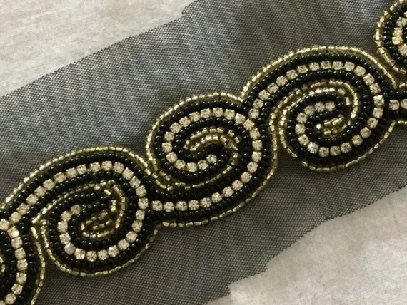 Hand Embroidered Black Gold Swirl Trim with Seed Beads & Crystals