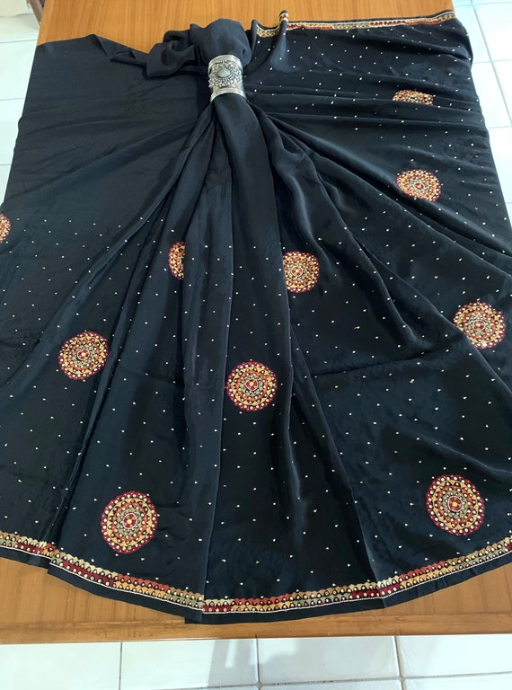 Black Pure Crepe Silk Sari + Blouse (1M), totally hand Embroidered Silk Sari, Mirror Work Saree, Traditional Indian Dress, Sewing Fabric