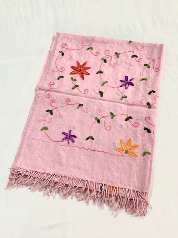 Soft pink woollen shawl,Floral Embroidered woollen shawl,All over embroidered shawl,Soft pink winter shawl.