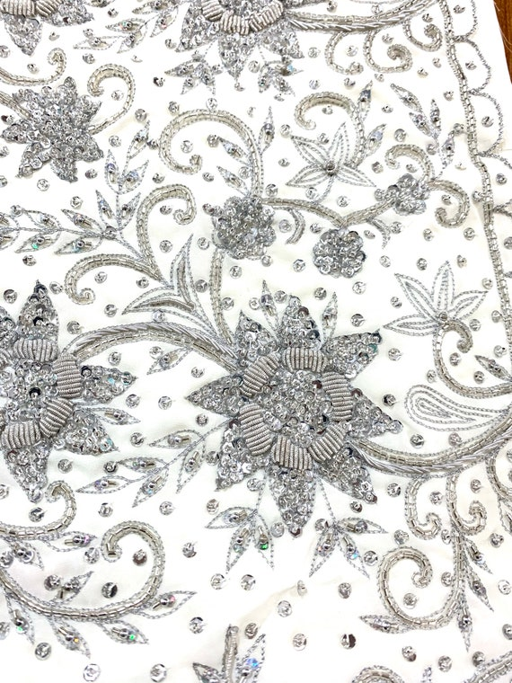 Hand Beaded White Designer Sari, Silver Zardosi Thread Work, Scallop Edge Bead Sequins Saree, Traditional Style Indian Dress, Sewing Fabric