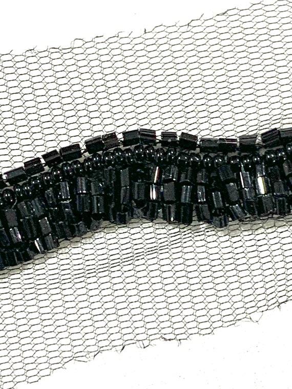 Black beaded trim,Hand embroidered Black trim, Edging trim ,veil trim, fashion trim.