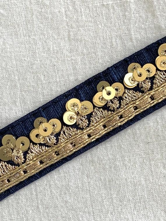 Blue beaded trim,Navy Blue Embroidered Art Silk Trim, Gold Metallic Thread n Sequin trim, Costume, Boho Sewing Trim