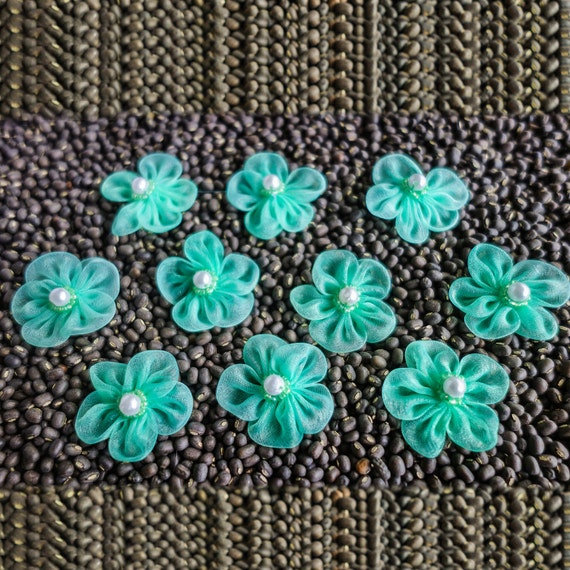 Small Sheer Bright-Colored Gathered Ribbon Flowers with Beaded Centers Emerald Green