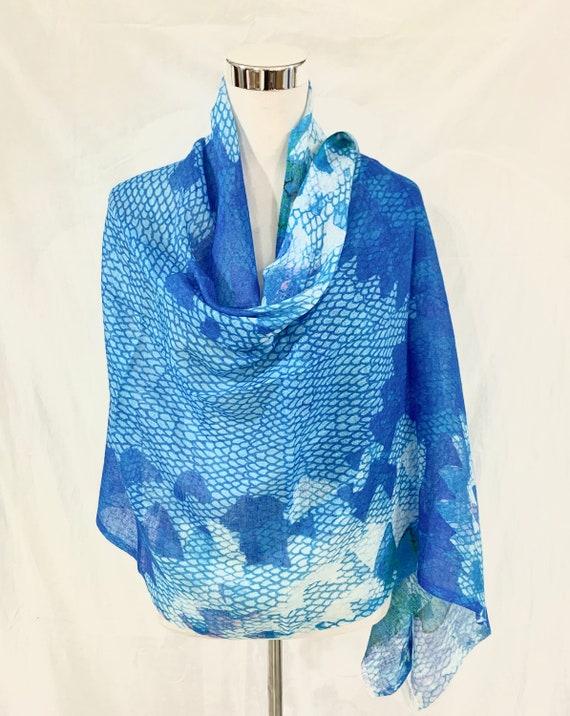 Blue cotton silk shawl, Blue n white modal silk shawl, all season shawl, women fashion shawl, light n soft shawl, cool blue feel good shawl.