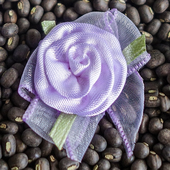 Small Coiled Ribbon Roses with Bows lavender purple