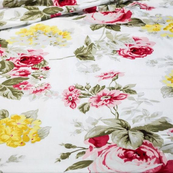 Floral Print Fabric - Multicoloured Polycotton Fabric - Green White and Pink Floral Print Fabric