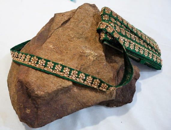 Golden Rhinestones Trim - Crystals Trim - Bottle Green Floral Embroidered Trim