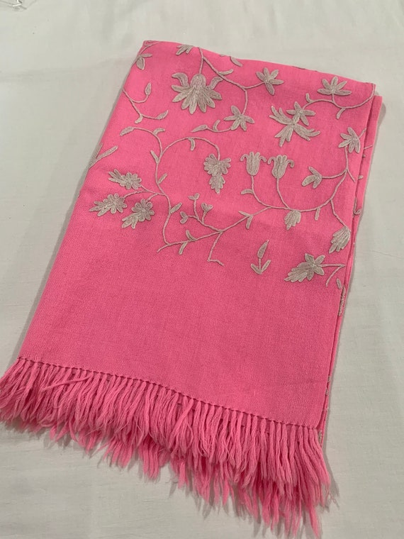 Hot pink woollen shawl,Floral hand Embroidered wool shawl,All over embroidered shawl,Hand fringed shawl.