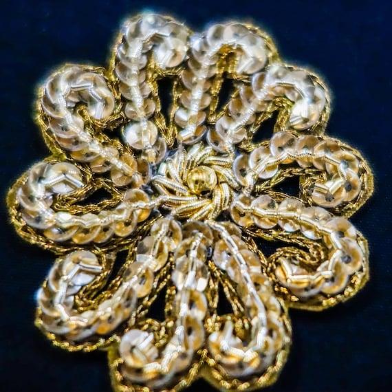 Golden Applique - Bridal Applique - Embroidered Applique - Wedding Applique - Floal Applique - Antique Golden - Metallic Threads