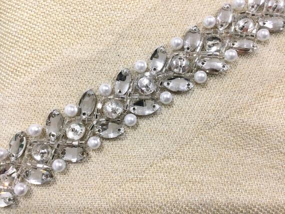 Silver Bridal trim, silver crystal trim, silver hand beaded trim, trim for bridal belt, hand embroidered trim.