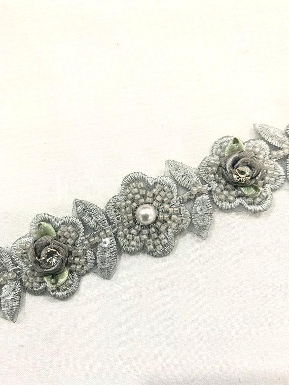 Grey beaded trim, Grey Hand embroidered floral trim, jewellery making trim, Fashion trim, Home decoration trim.