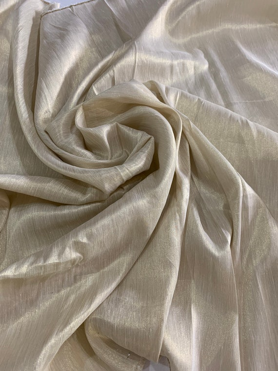 Golden Thread Linen Satin Fabric, Premium Cream Gold Colour, Woven Material, Traditional Style Indian Dress Saree Shawl Scarf, Sewing Fabric