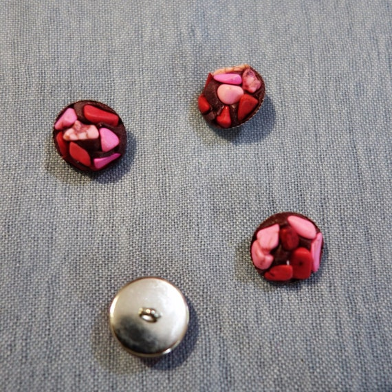 Pink handcrafted buttons, Metallic Buttons Handcrafted with vibrant pink stones.