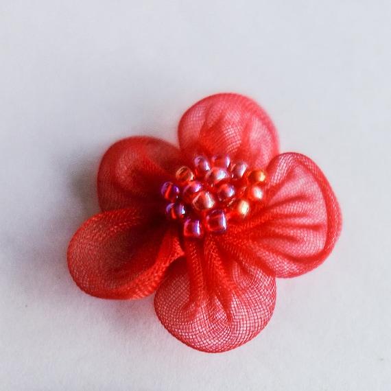 Miniature Red Sheer Beaded Flowers