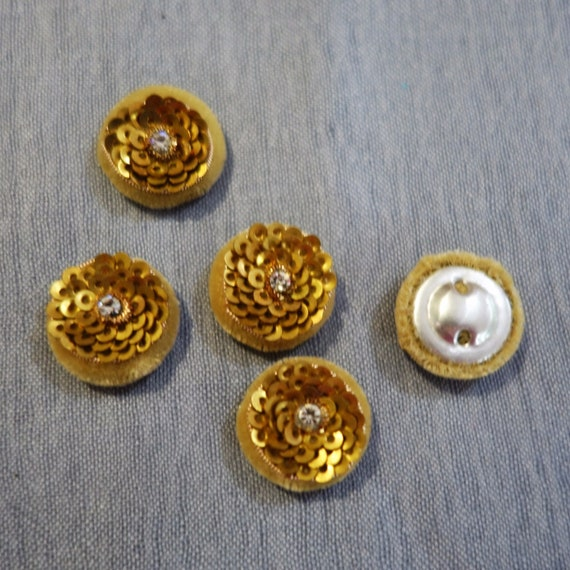 Gold Beige Buttons Hand Embroidered with Sequins, Metallic Thread & Crystal