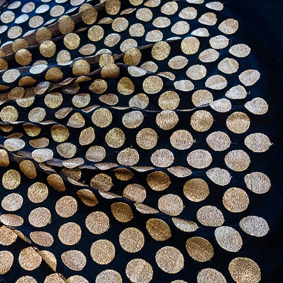 Sheer black and gold tulle polkadot fabric - Black and Gold Fabric