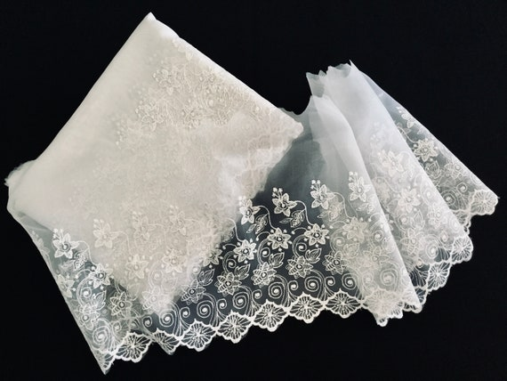 Sheer white embroidered trim, border trim, bridal trim, floral trim
