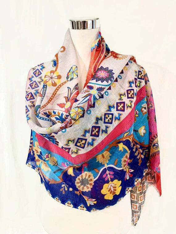 Paisley silk wool shawl, Multicolour silk wool shawl, all season shawl wrap, soft like feather wrap, women shawl.