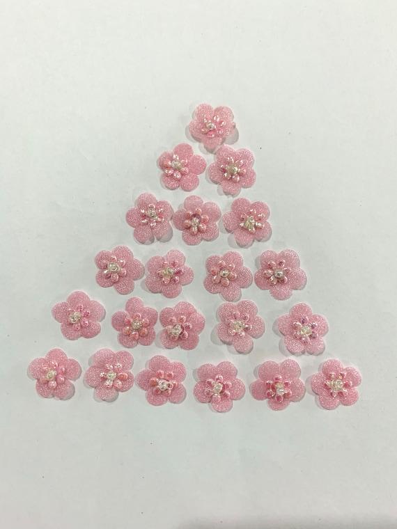 Small Light pink fabric Flowers,Glittering light pink Flowers, light pink layered flowers