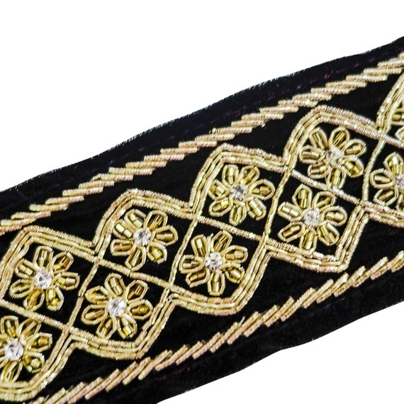 Hand Embellished Black n silvery Gold Velvet Trim with Beads & Crystals