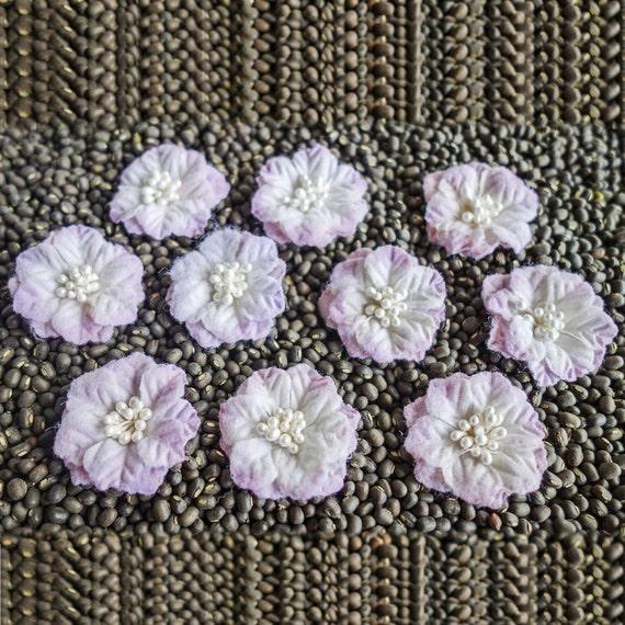 Small Pastel Poinsettia Fabric Flowers pale purple