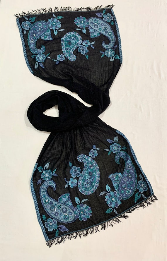 Black and Blue silk scarf, black n Aqua silk scarf, Jacquard scarf, hand beaded scarf, paisley pattern scarf.