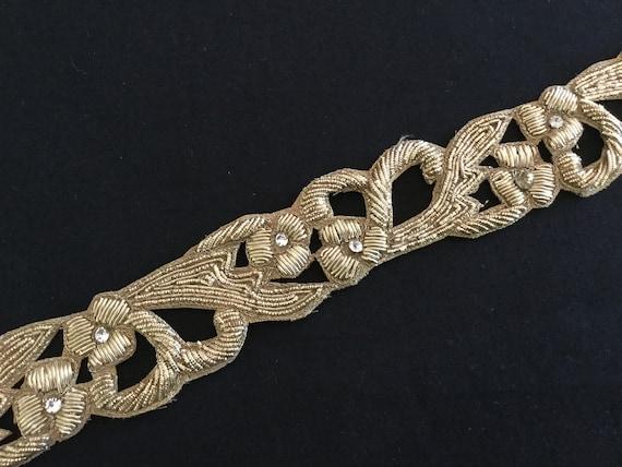 Golden Cut Work Trim with Metallic Zardosi Threads & Crystal