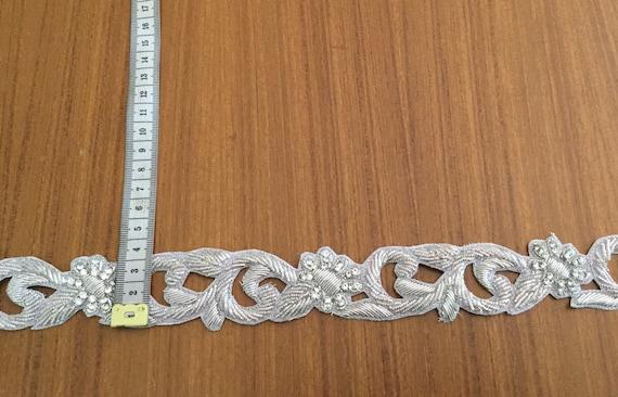 Slim Silver Cut Work Trim with Metallic Zardosi Threads & Crystals