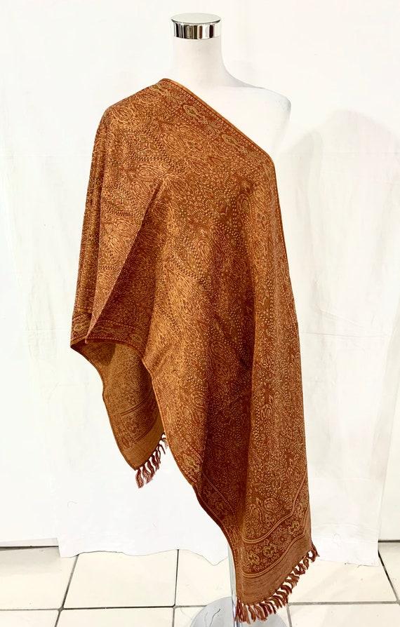 Orange silk wool shawl, Orange n golden shawl, Jacquard shawl, all season shawl, formal n casual shawl, women shawl, Hand woven  shawl