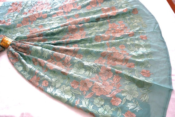 Soft Green Georgette Fabric - Georgette Fabric - Embroidered Fabric - Silk and Golden Thread - Floral Embroidery - Floral Print Fabric