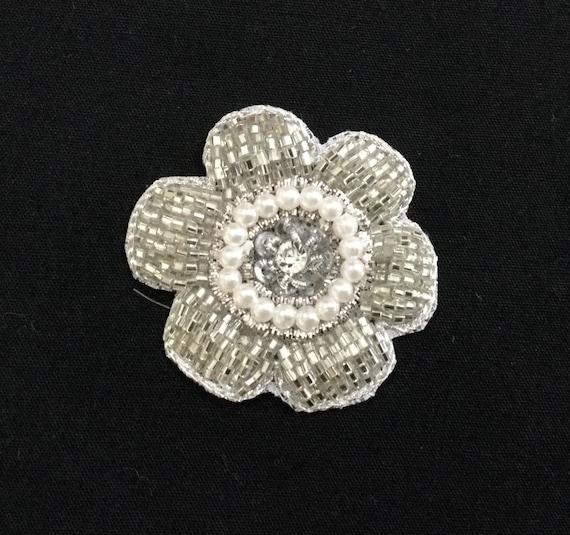 Pearl Bead - Sliver Applique - Bridal Applique - Embroidered Applique - Wedding Applique - Floral Applique - Crystal Applique