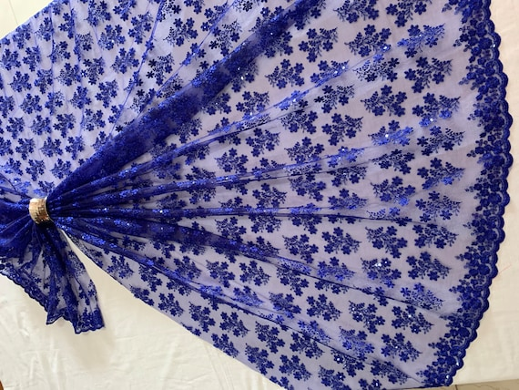 Silk Thread Sequins Tulle Fabric, Ultra Thin Royal Blue Floral Lace Embroidered Material, Traditional Dress Shawl Saree Veil