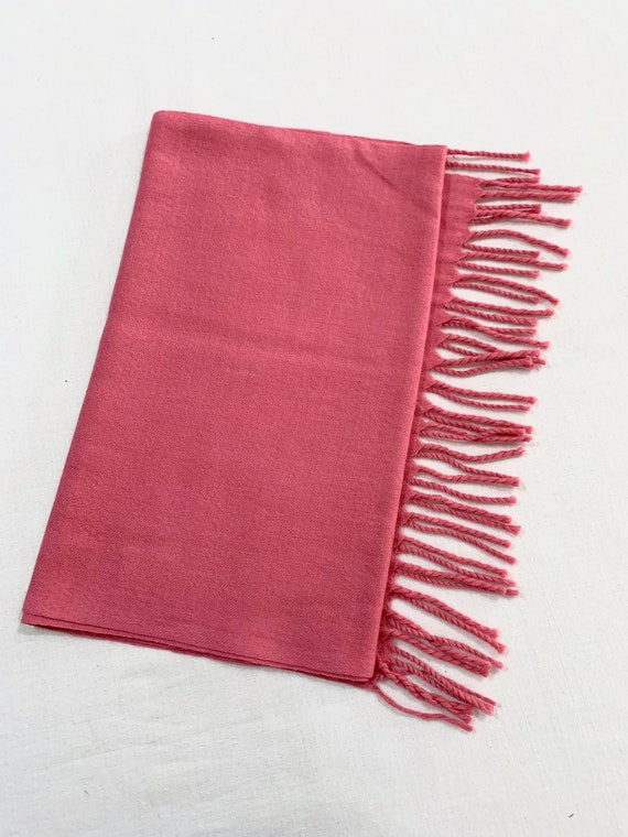 Pink woollen scarf, pure wool scarf, unisex scarf, feel good scarf, twisted fringed scarf, solid colour scarf.