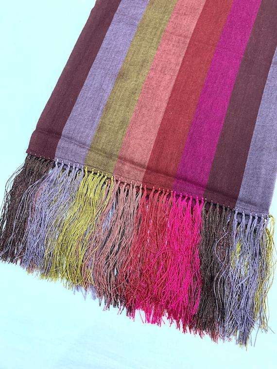 Striped woollen shawl, luxurious feel good shawl, long silk fringed shawl, women's fashion shawl wrap.