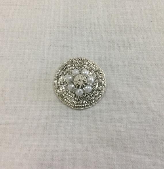 Sliver Applique - Pearl Bead - Bridal Applique - Embroidered Applique - Wedding Applique - Floral Applique - Crystal Applique