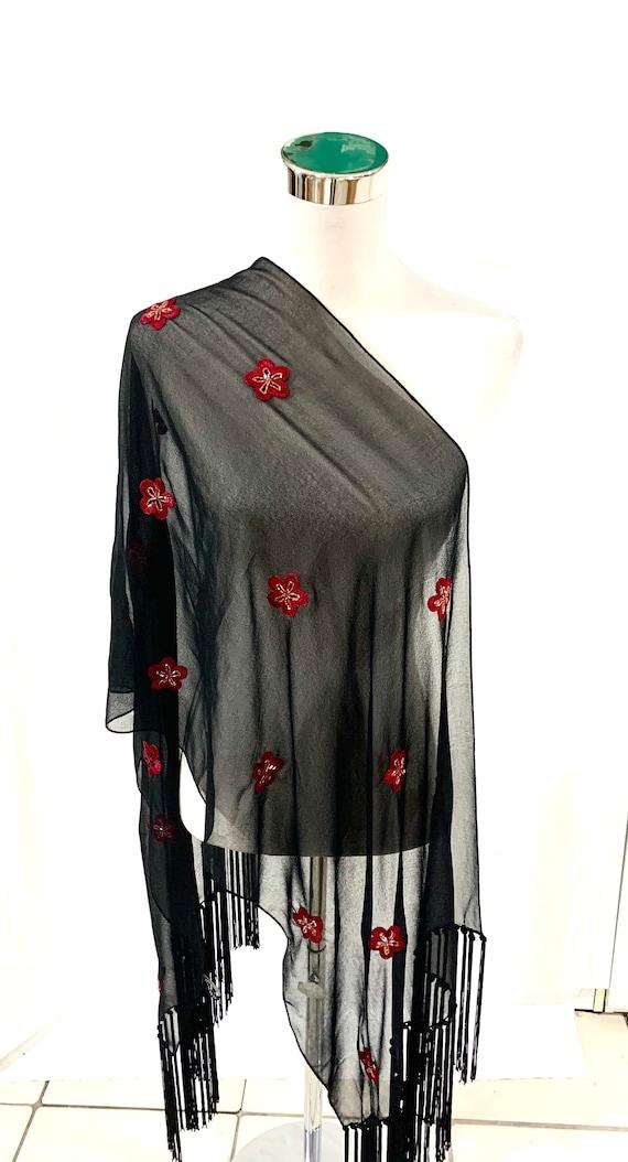 Black n Red wrap,hand embroidered shawl, long fringed shawl,Black Georgette wrap scarf, formal summer wrap.