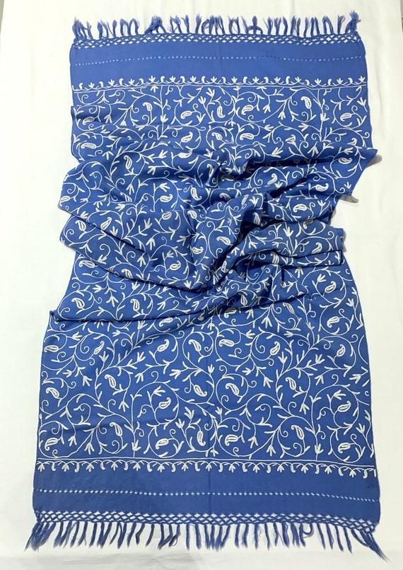 Blue woollen shawl, paisley hand Embroidered wool shawl,All over embroidered shawl,Hand fringed shawl, Designer shawl