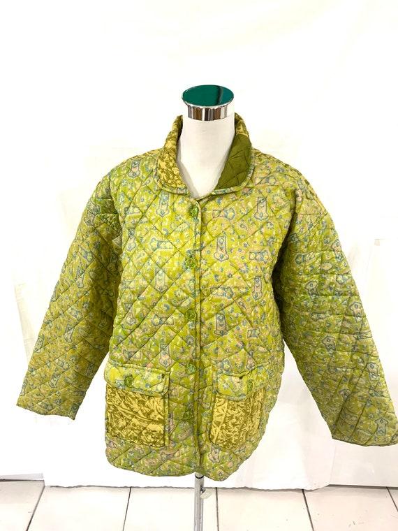Lime green silk Jacket, Large size silk Jacket, Vintage silk Saree Jacket, Quilted silk Jacket, soft n light Jacket
