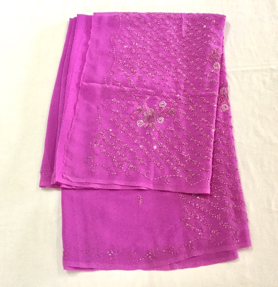 Magenta Georgette Sari, Hand Beaded Silk Thread, Fine Silver Sequins Embroidered Saree, Traditional Style Indian Dress, Sewing Fabric